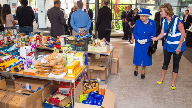 The Queen visiting a relief centre
