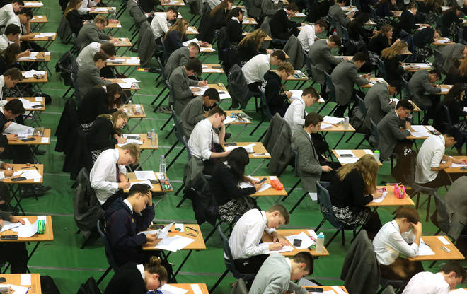 Students take GCSE exams