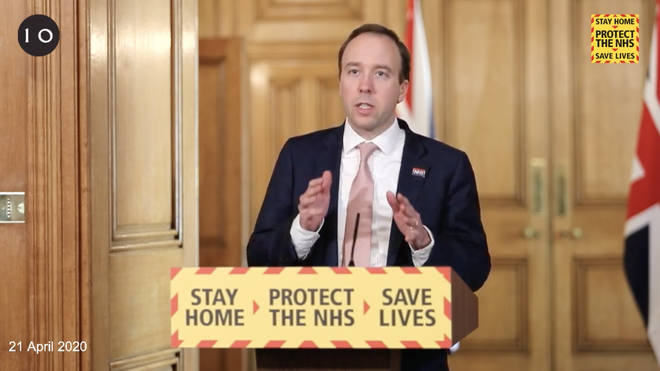 Matt Hancock speaking at the daily Downing Street press conference