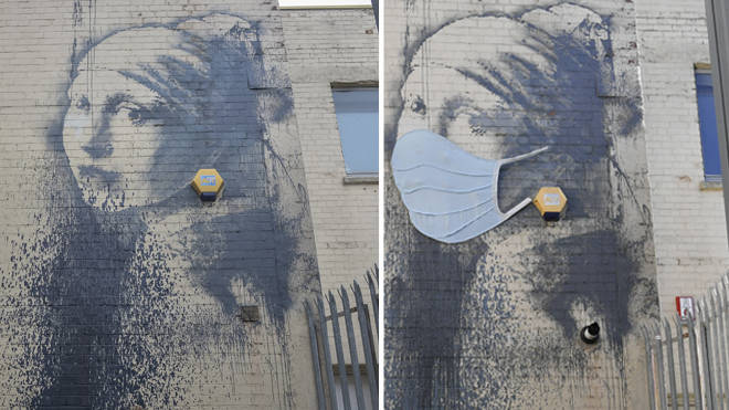 The mural, left, in October 2014 after being defaced, and right, with a face mask