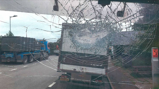 Damage to the cement lorry's windscreen
