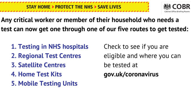 Key workers and their families can book tests in five ways