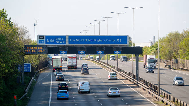 Traffic on the M1 motorway in Leicester