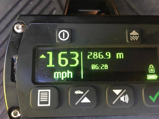 The driver was caught speeding at 163mph on the M1