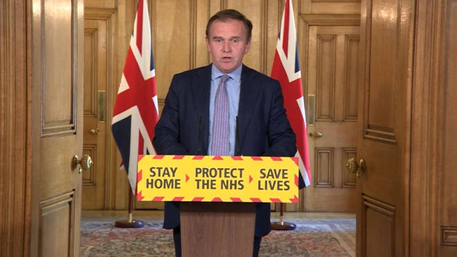 Environment Secretary George Eustice during a media briefing in Downing Street