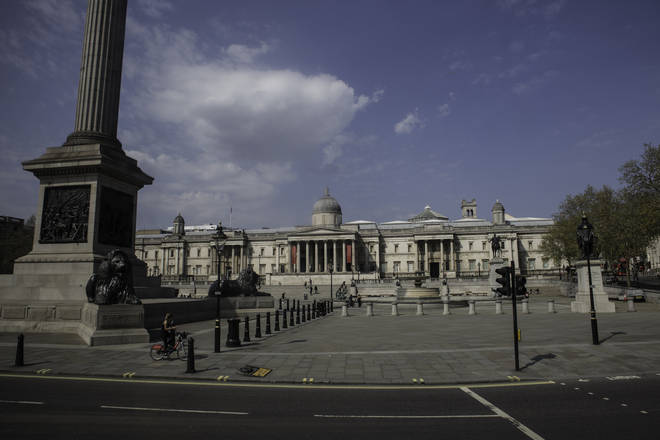Trafalgar Square is empty under the lockdown