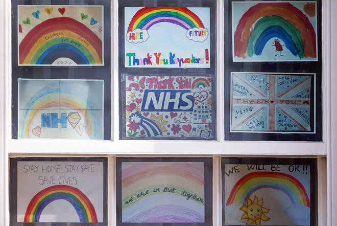 Drawings thanking the NHS in the windows of Downing Street