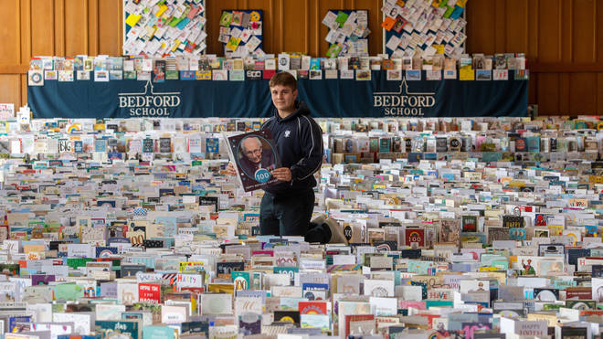 Bedford School, attended by Capt Moore's grandson Benjie Ingram-Moore, has been flooded with mountains of birthday cards