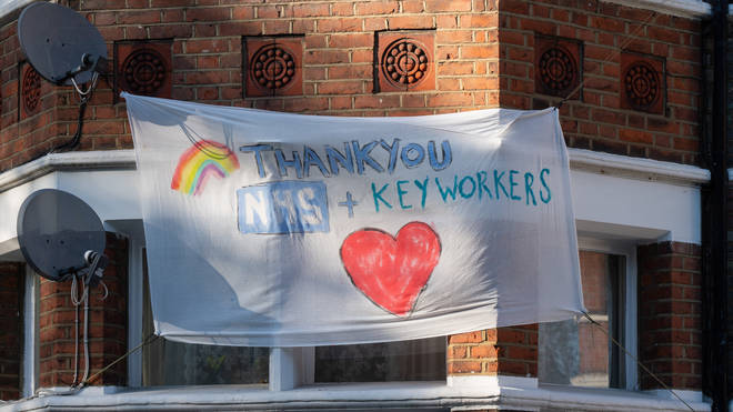 A banner outside a home in Chiswick, west London, thanking NHS and key workers