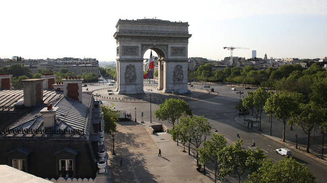 The normally packed Arc de Triomphe is deserted