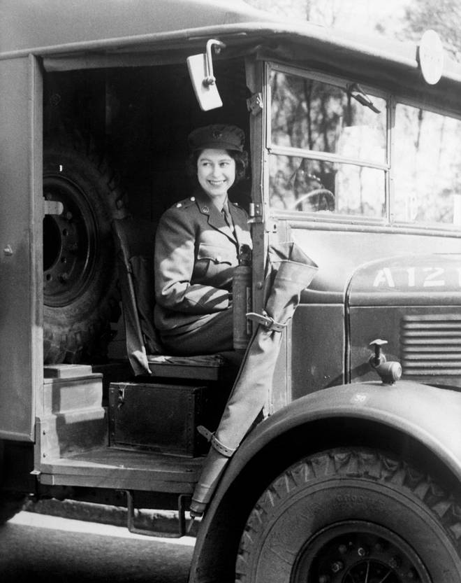 Princess Elizabeth at the wheel of an army vehicle on 01/01/1945