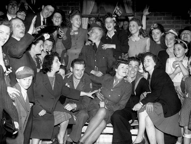 VE Day celebrations in the East End of London on 08/05/45