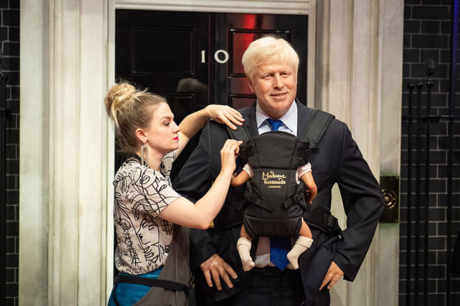 Madame Tussauds fit Boris Johnson's waxwork with a baby carrier