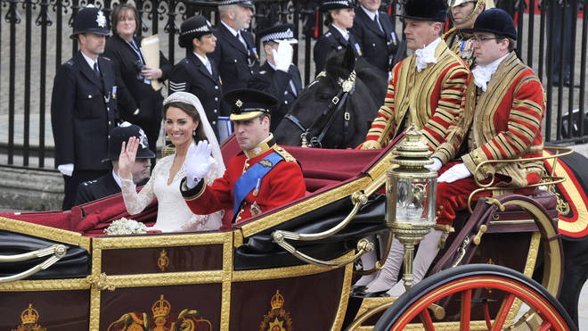 Kate and William smile as they leave Westminster Abbey