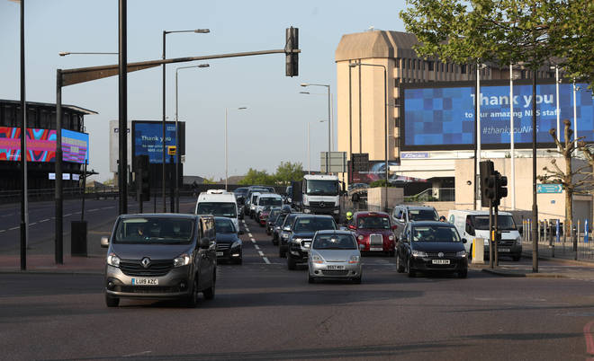 London traffic at 0732 on Monday on the A4 near Earl's Court