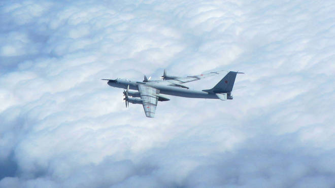 One of the Russian Tu-142 'BEAR-F' aircraft that approached the UK and NATO's area of interest.