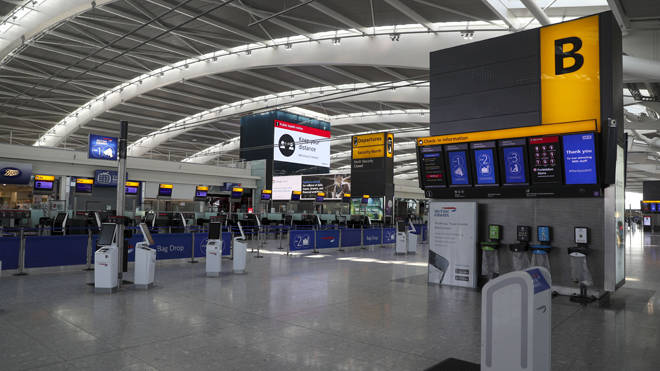The empty concourse at Terminal 5 at Heathrow Airport