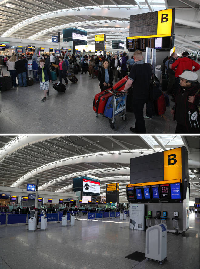 Heathrow airport pictured in Easter 2012 compared to Easter 2020