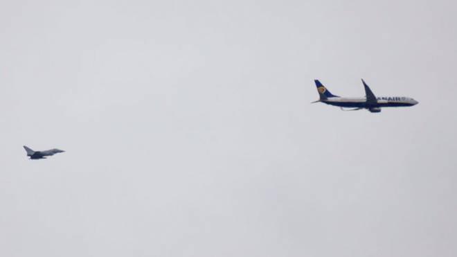 RAF Typhoon scrambled to escort RyanAir plane