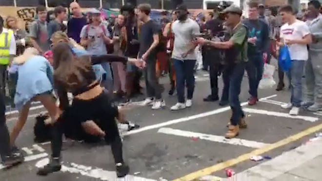 A fight was filmed at Notting Hill Carnival on Monday
