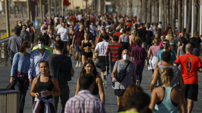 Spaniards are allowed to leave their homes for exercise for the first time in seven weeks