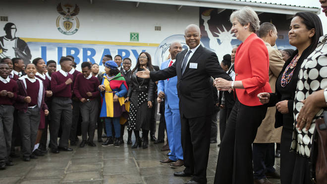 Theresa May dancing in Africa