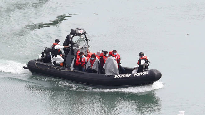 Migrants pictured arriving into the UK on 27 April