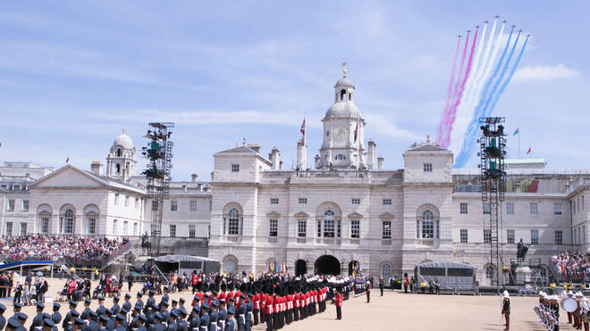 Red Arrows flying over Horse Guards Parade during the VE Day Parade to mark the 70th anniversary of VE Day