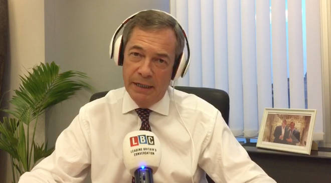 Nigel Farage was broadcasting from his office at the EU Parliament