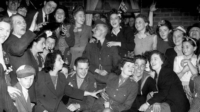 VE Day celebrations in London's East End on the 8th of May 1945