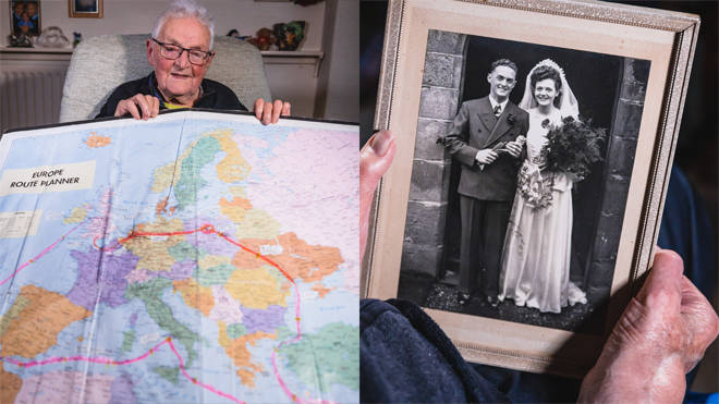 Norman shows a map of his route home to the UK in time for VE Day