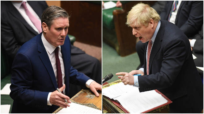 Sir Keir Starmer (L) and Boris Johnson (R) will face off in PMQs for the first time