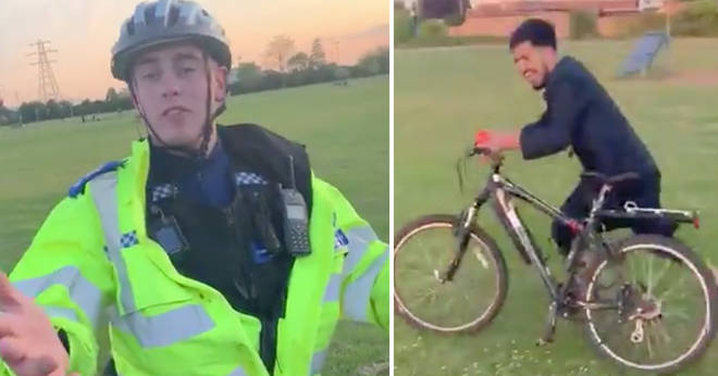 Mobile footage shows the moment a PCSO has his bike taken