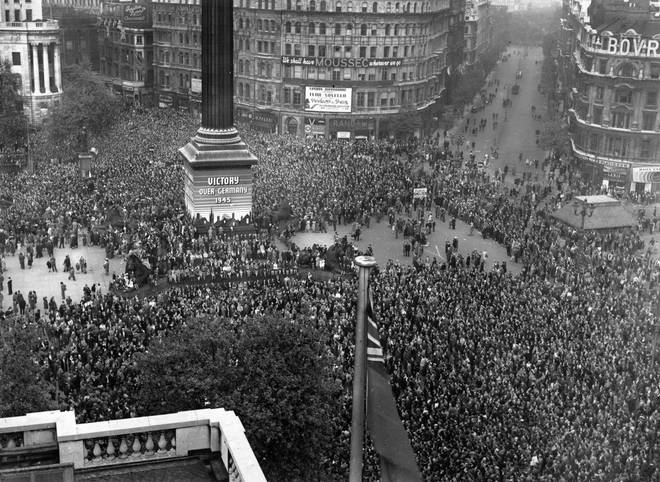 Crowds engulf Trafalgar Square in central London to celebrate the victory