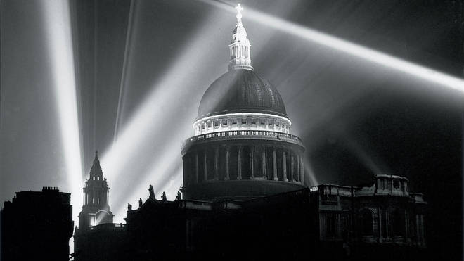 Christopher Wren's cathedral lit up by beams of light to celebrate the end of World War II