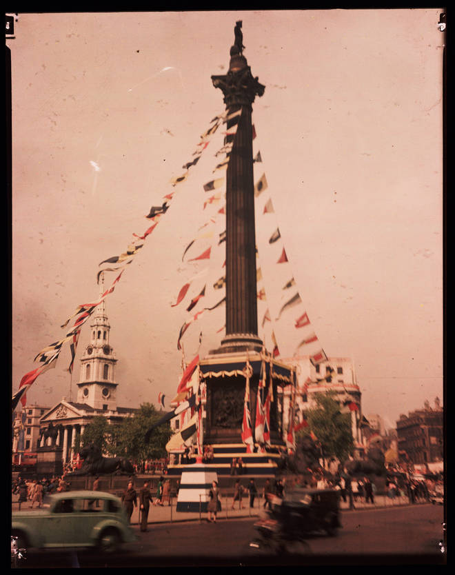 Trafalgar Square seen in a colourised picture from May 1945