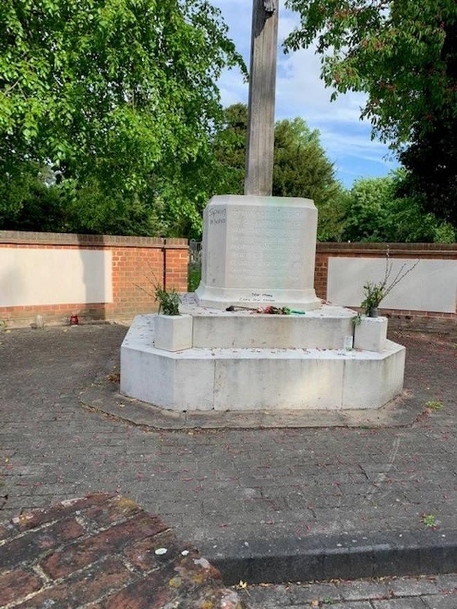 The memorial in Hayes has been vandalised