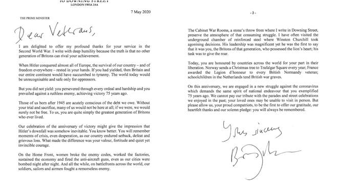 Boris Johnson's letter to veterans