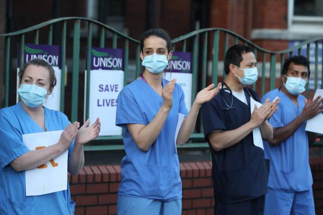Medical staff outside Mater Hospital in Belfast