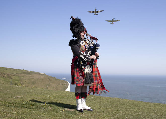 The two-minute silence was bookended by bagpipe players across the UK