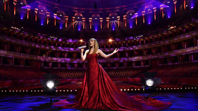 Katherine Jenkins performs during a behind-closed-doors concert commemorating VE Day at Royal Albert Hall