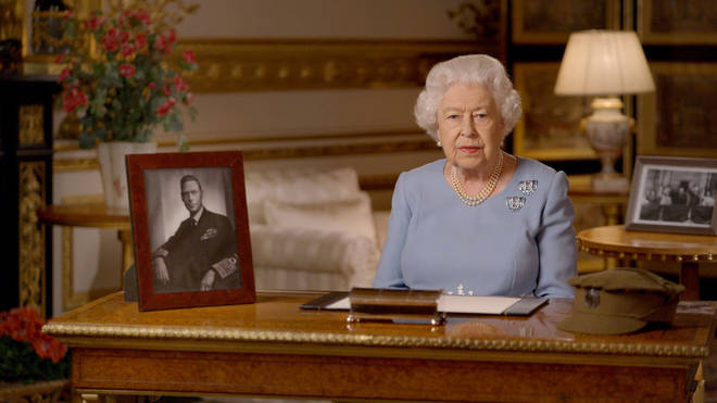 Queen Elizabeth II during her address to the nation and the Commonwealth on the 75th anniversary of VE Day