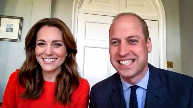 The Duke and Duchess of Cambridge during a video call with veterans from Mais House, a Royal British Legion Care Home