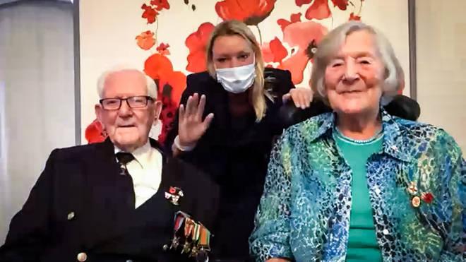 Veterans Charles Ward and Jean Hull, alongside Susan Barnes, from Mais House