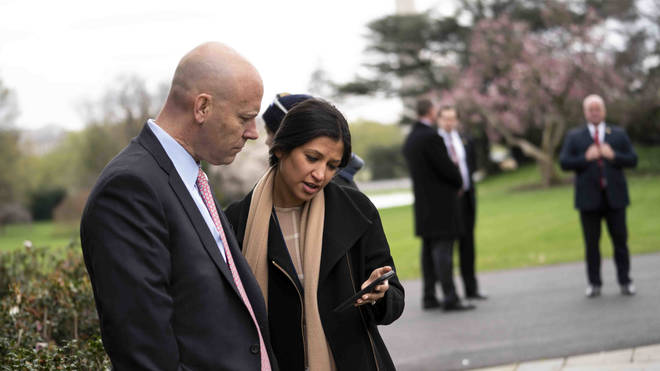 Katie Miller (right, with Marc Short, Chief of Staff for Vice President Mike Pence) tested positive on Friday
