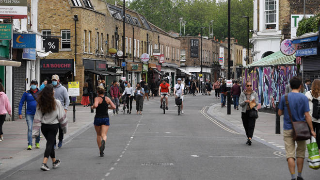 People on Broadway Market in London yesterday during the coronavirus lockdown