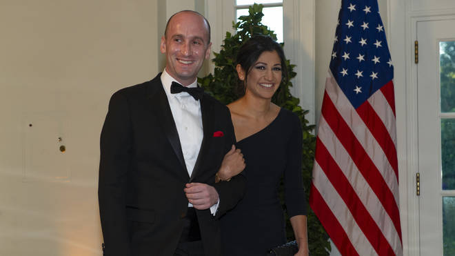 File photo: Katie Miller with husband Stephen, who works as an adviser to the President