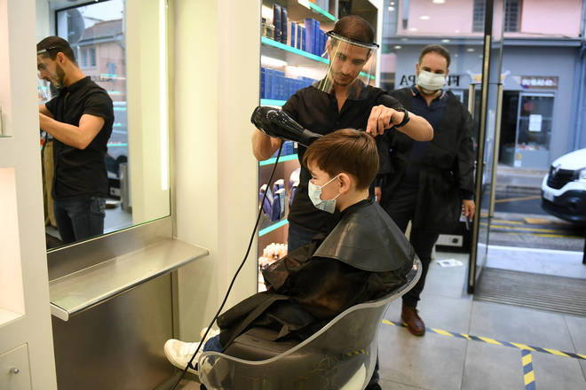First day of deconfinement in France. Hairdressers are overwhelmed with customers in Lyon