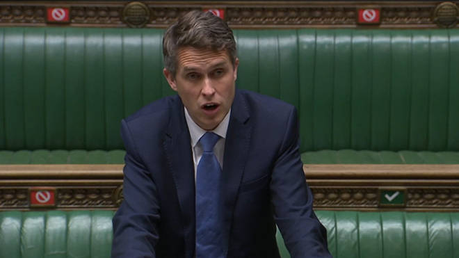 Education Secretary Gavin Williamson speaks in the House of Commons on Wednesday