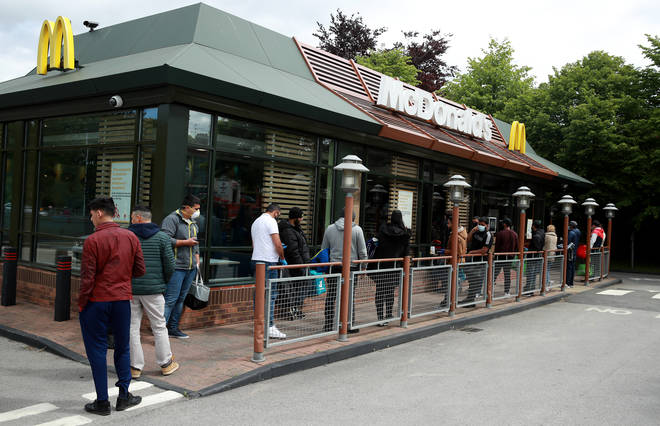 Long delivery driver queues were seen outside McDonald's Leagrave in Luton